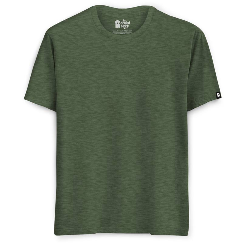 Solids: Olive Green Melange T-Shirts | The Souled Store
