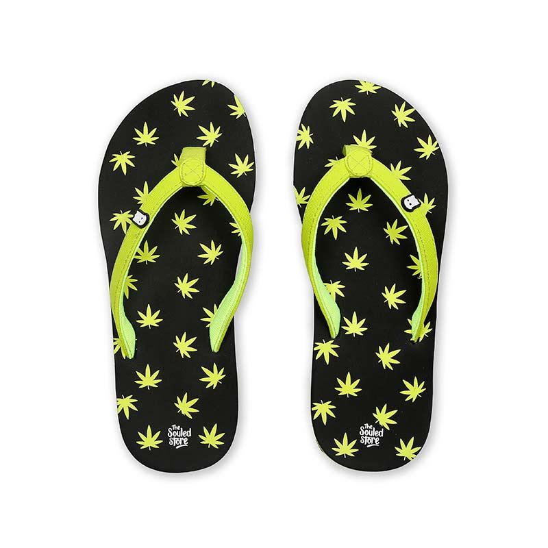 Marijuana Pattern Flip Flops | The Souled Store