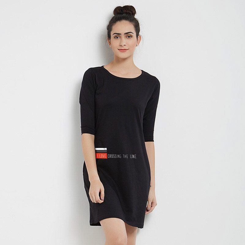 GFG: Love Crossing The Line (Black) T-Shirt Dresses | Gujarat Fortune Giants