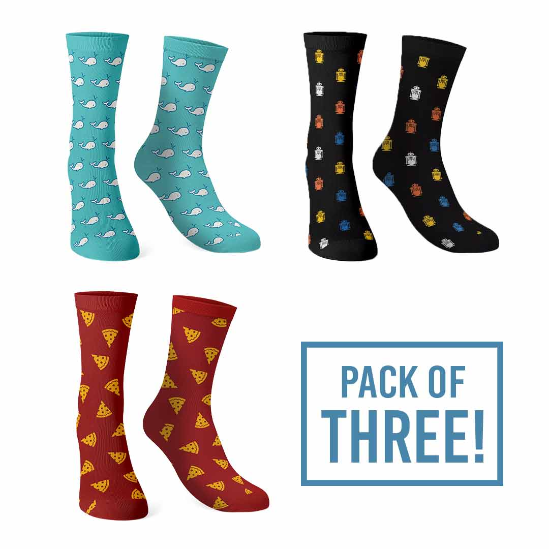 Pack Of Three: Patterns Socks | The Souled Store