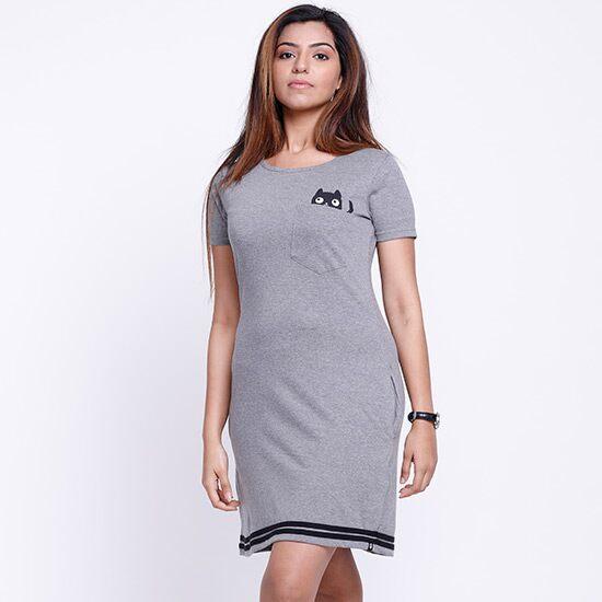 Pocket Cat T-Shirt Dresses   The Souled Store