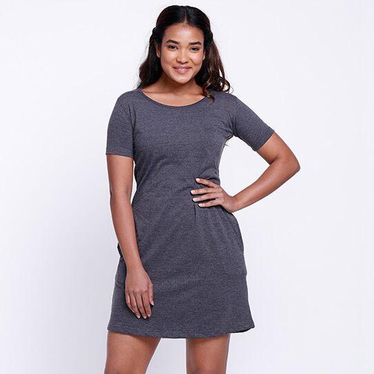 Solids: Charcoal Melange T-Shirt Dresses   The Souled Store
