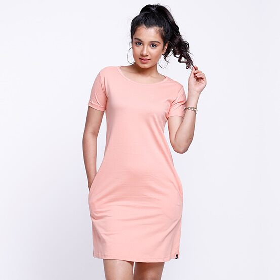 Solids: Peach Pink T-Shirt Dresses   The Souled Store