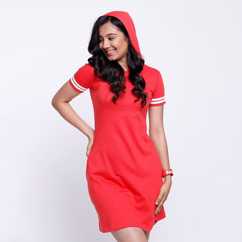 Solids: Hoodie Warmer T-Shirt Dresses | The Souled Store